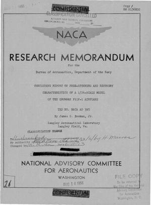 Primary view of object titled 'Concluding Report on Free-Spinning and Recovery Characteristics of a 1/24-Scale Model of the Grumman F11F-1 Airplane, TED No. NACA AD 395'.