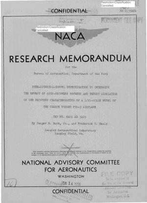 Primary view of object titled 'Free-Spinning-Tunnel Investigation to Determine the Effect of Spin-Recovery Rockets and Thrust Simulation on the Recovery Characteristics of a 1/21-Scale Model of the Chance Vought F7U-3 Airplane, TED No. NACA AD 3103'.