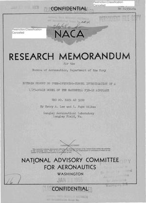 Primary view of object titled 'Interim Report on Free-Spinning-Tunnel Investigation of a 1/25-Scale Model of the McDonnell F3H-1N Airplane, TED No. NACA AD 3100'.