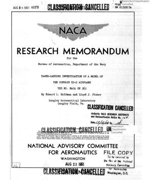 Primary view of object titled 'Yawed-Landing Investigation of a Model of the Convair Y2-2 Airplane, TED No. NACA DE 363'.