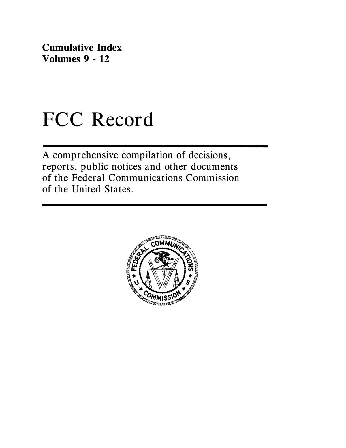 FCC Record, Cumulative Index, Volumes 9-12                                                                                                      Front Cover
