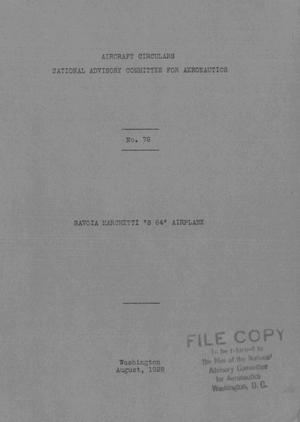 "Primary view of Savoia Marchetti ""S 64"" Airplane"