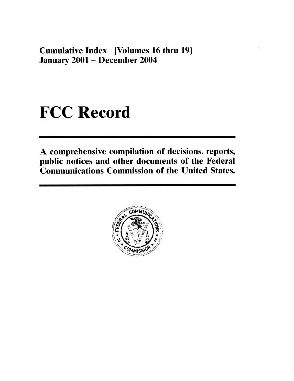 FCC Record, Cumulative Index, Volumes 16-19                                                                                                      Front Cover