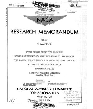 Primary view of object titled 'Free-Flight Tests of 0.11-Scale North American F-100 Airplane Wings to Investigate the Possibility of Flutter in Transonic Speed Range at Varying Angles of Attack'.