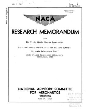 Primary view of object titled 'NACA Zero Power Reactor Facility Hazards Summary'.