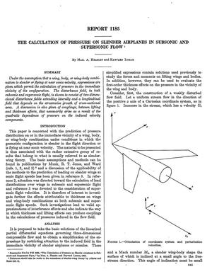 Primary view of object titled 'The calculation of pressure on slender airplanes in subsonic and supersonic flow'.