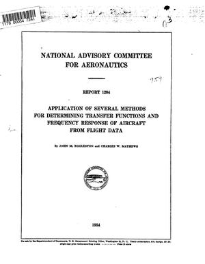 Primary view of object titled 'Application of several methods for determining transfer functions and frequency response of aircraft from flight data'.
