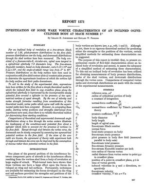 Primary view of object titled 'Investigation of some wake vortex characteristics of an inclined ogive-cylinder body at Mach number 2'.