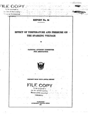 Primary view of object titled 'Effect of Temperature and Pressure on the Sparking Voltage'.