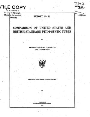 Primary view of object titled 'Comparison of United States and British standard pitot-static tubes'.