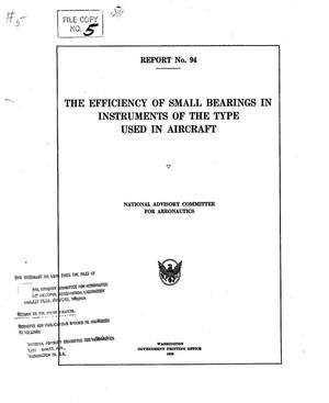 Primary view of object titled 'The Efficiency of Small Bearings in Instruments of the Type Used in Aircraft'.