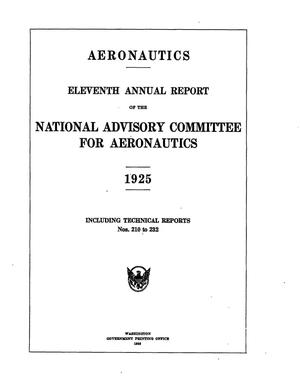 Primary view of object titled 'Annual report for the National Advisory Committee for Aeronautics (11th).administrative report including Technical Reports nos. 210 to 232'.