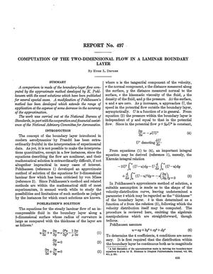 Primary view of Computation of the two-dimensional flow in a laminar boundary layer
