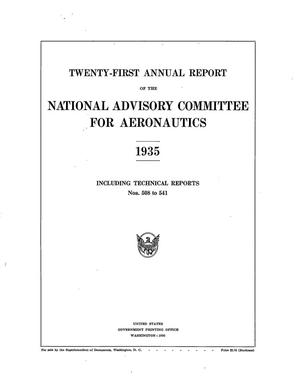 Primary view of object titled 'Annual report of the National Advisory Committee for Aeronautics (21st).administrative report including Technical Report nos. 508 to 541'.