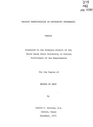 Primary view of object titled 'Faculty Participation in University Governance'.