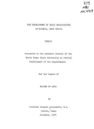 Primary view of object titled 'The Development of Radio Broadcasting in Nigeria, West Africa'.