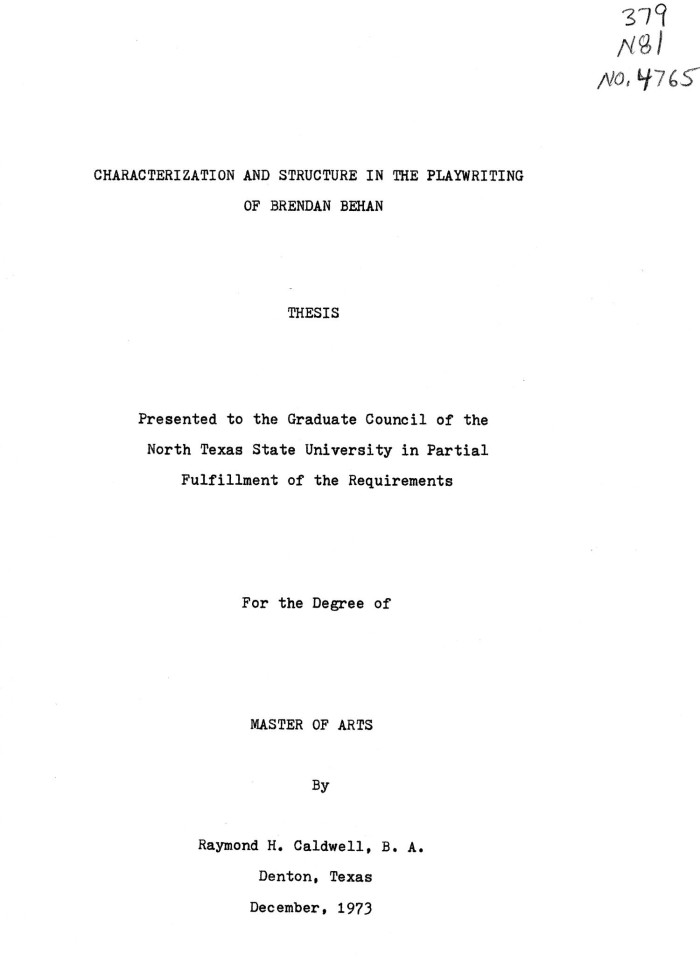 thesis on play writing