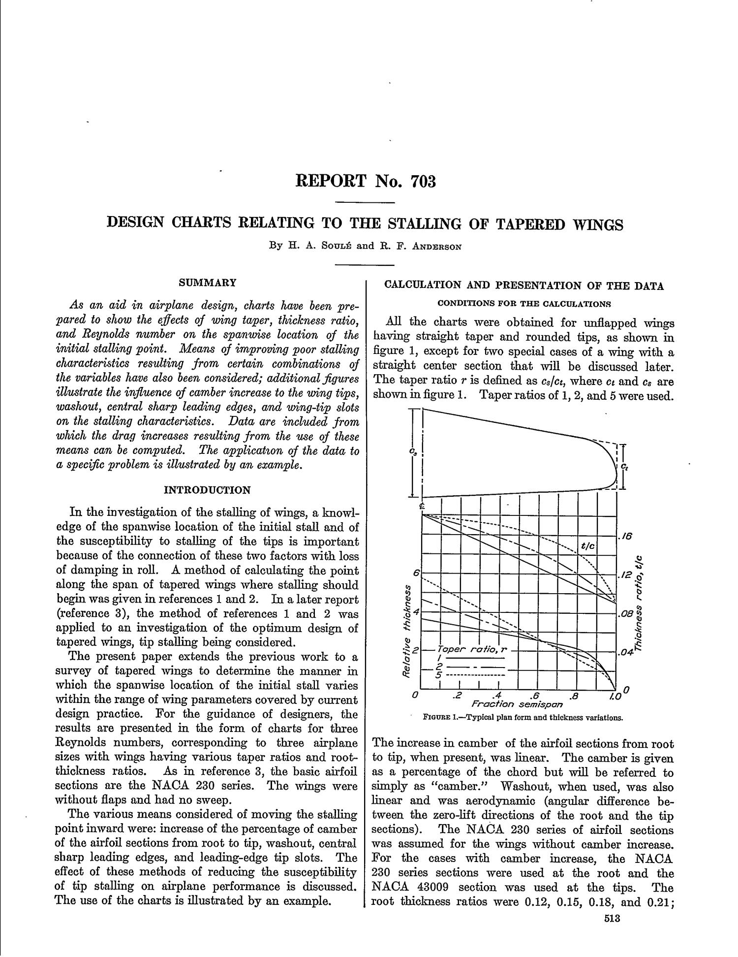 Design Charts Relating to the Stalling of Tapered Wings - Page 1 of