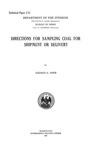 Primary view of object titled 'Directions for Sampling Coal for Shipment or Delivery'.