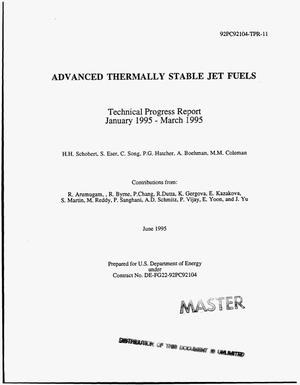 Primary view of object titled 'Advanced thermally stable jet fuels. Technical progress report, January 1995--March 1995'.