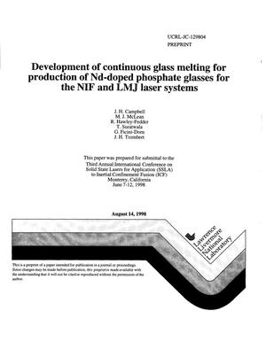 Primary view of object titled 'Development of continuous glass melting for production of Nd-doped phosphate glasses for the NIF and LMJ laser system'.