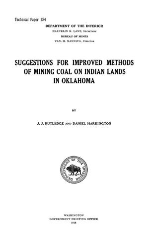 Primary view of object titled 'Suggestions for Improved Methods of Mining Coal on Indian Lands in Oklahoma'.