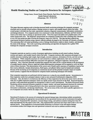 Primary view of object titled 'Health monitoring studies on composite structures for aerospace applications'.