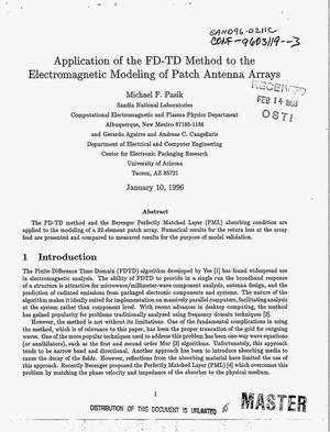 Primary view of object titled 'Application of the FD-TD method to the electromagnetic modeling of patch antenna arrays'.
