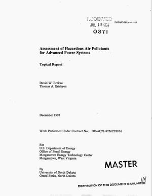 Primary view of object titled 'Assessment of hazardous air pollutants for advanced power systems'.