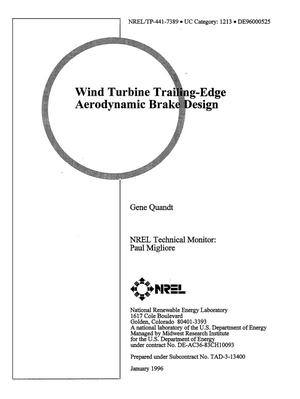 Primary view of object titled 'Wind turbine trailing-edge aerodynamic brake design'.