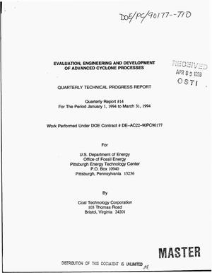 Primary view of object titled 'Evaluation, engineering and development of advanced cyclone processes. Quarterly technical progress report No. 14, January 1994--March 31, 1994'.