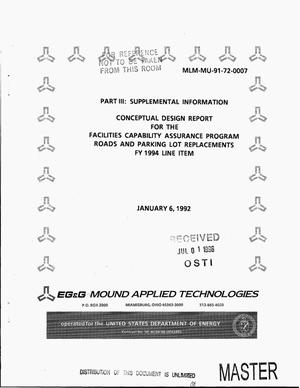 Primary view of object titled 'Conceptual design report for the facilities capability assurance program roads and parking lot replacements. Part III: Supplemental information. FY 1994 line item'.