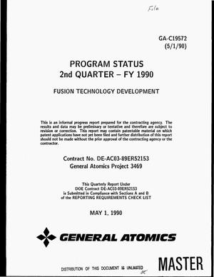 Primary view of object titled 'Program status 2. quarter -- FY 1990: Fusion technology development'.