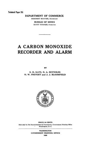 Primary view of object titled 'A Carbon Monoxide Recorder and Alarm'.