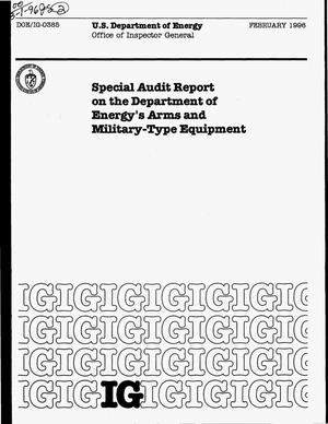 Primary view of object titled 'Special audit report on the Department of Energy`s Arms and military-type equipment'.