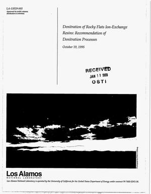 Primary view of object titled 'Denitration of Rocky Flats Ion-Exchange Resins: Recommendation of Denitration Processes, October 19, 1995'.