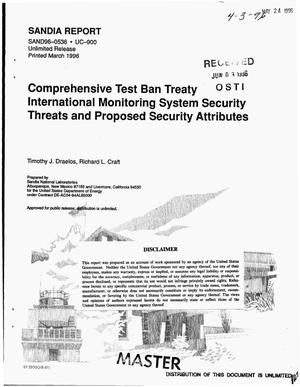 Primary view of object titled 'Comprehensive test ban treaty international monitoring system security threats and proposed security attributes'.