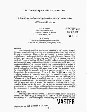 Primary view of object titled 'A procedure for generating quantitative 3-D camera views of tokamak divertors'.