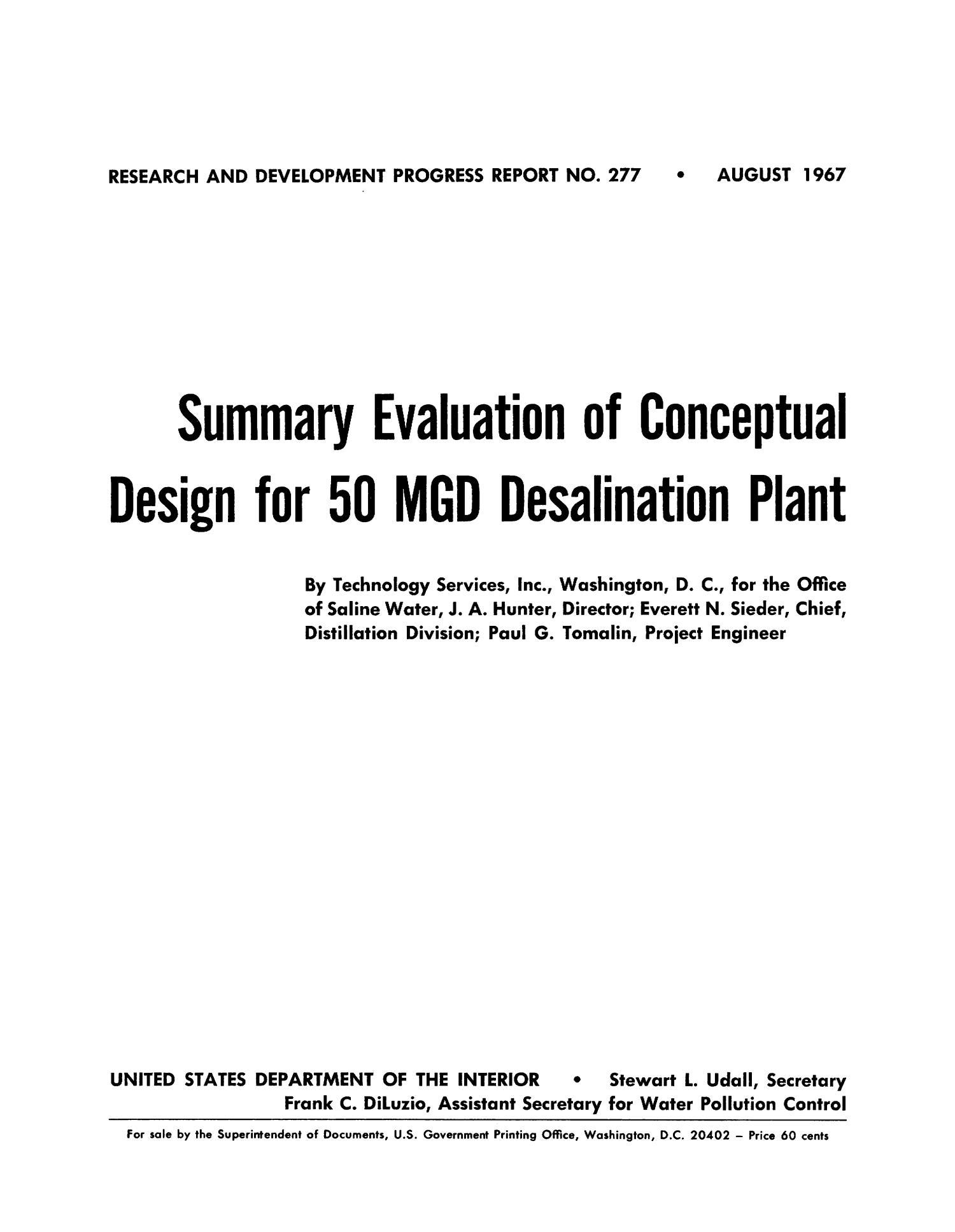 Summary Evaluation of Conceptual Design for 50 MGD Desalination