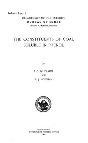 Primary view of object titled 'The Constituents of Coal Soluble in Phenol'.