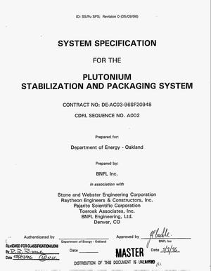 Primary view of object titled 'Plutonium stabilization and packaging system'.