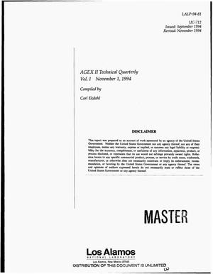 Primary view of object titled 'AGEX II technical quarterly: Volume 1, November 1, 1994'.