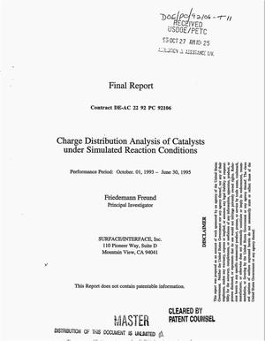 Primary view of object titled 'Charge distribution analysis of catalysts under simulated reaction conditions. Final report, October 1, 1993--June 30, 1995'.