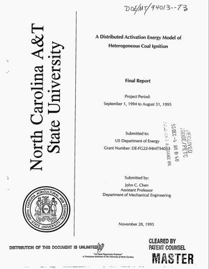 Primary view of object titled 'A distributed activation energy model of heterogeneous coal ignition. Final report, September 1, 1994--August 31, 1995'.