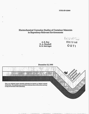 Primary view of object titled 'Electrochemical corrosion studies of container materials in repository-relevant environments'.