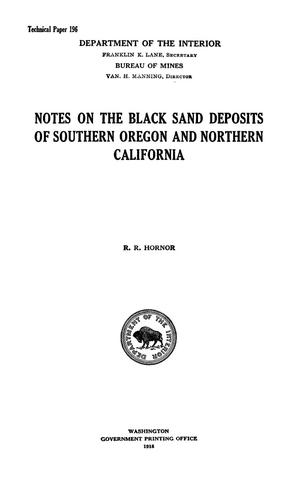 Primary view of object titled 'Notes on the Black Sand Deposits of Southern Oregon and Northern California'.
