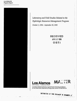 Primary view of object titled 'Laboratory and field studies related to the hydrologic resources management program. Annual progress report, October 1, 1995--September 30, 1995'.