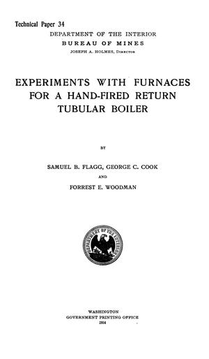 Primary view of object titled 'Experiments with Furnaces for a Hand-Fired Return Tubular Boiler'.