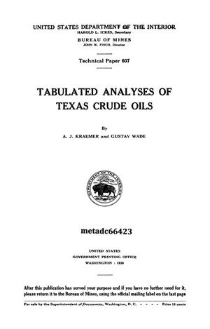Primary view of object titled 'Tabulated Analyses of Texas Crude Oils'.