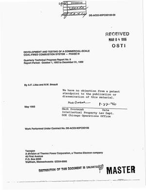 Primary view of object titled 'Development and testing of a commercial-scale coal-fired combustion system: Phase 3, Quarterly progress report No. 9, October 1, 1992--December 31, 1992'.